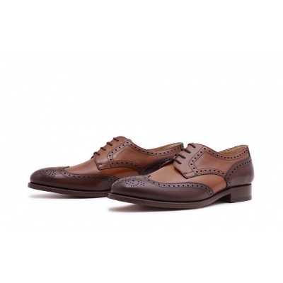 Derby Fullbrogue Cognac-Dunkelbraun Boxcalf