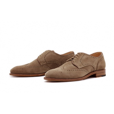 Derby Fullbrogue Naturel Velourcalf