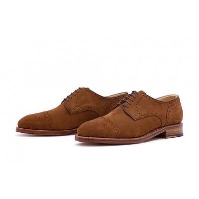 Derby Halfbrogue Hellbraun Velourcalf