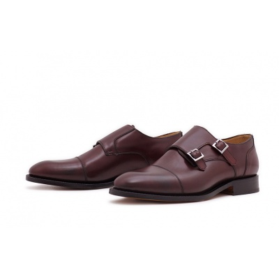 Double Monk Captoe Burgundy Saddlecalf