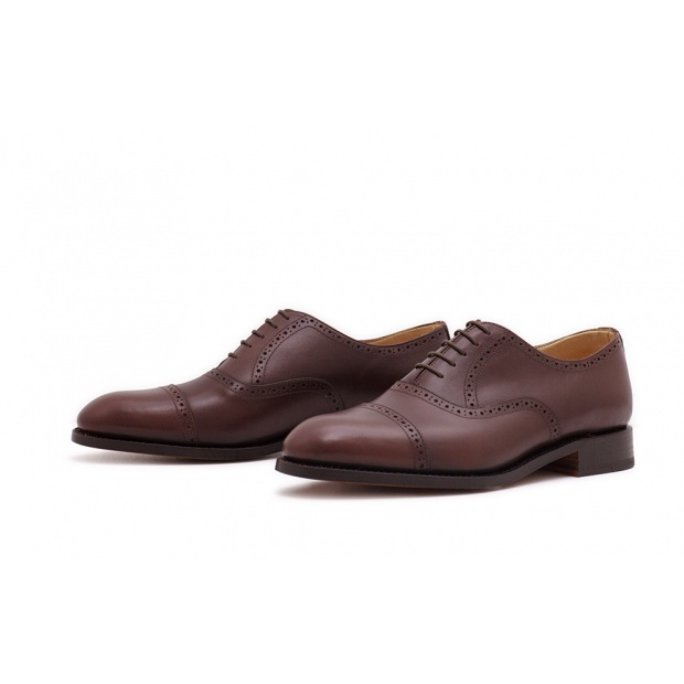 Oxford Quarterbrogue Dunkelbraun Französisches Boxcalf