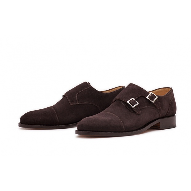 Double Monk Captoe Dunkelbraun Velourcalf